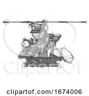 Sketch Police Man Flying In Gyrocopter Front Side Angle View
