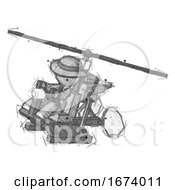 Sketch Detective Man Flying In Gyrocopter Front Side Angle Top View