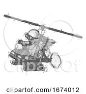 Sketch Doctor Scientist Man Flying In Gyrocopter Front Side Angle Top View