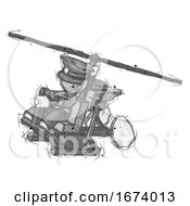 Sketch Police Man Flying In Gyrocopter Front Side Angle Top View