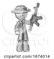 Sketch Detective Man Holding Automatic Gun