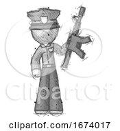 Sketch Police Man Holding Automatic Gun