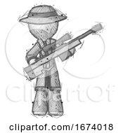 Sketch Detective Man Holding Sniper Rifle Gun
