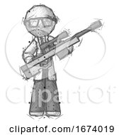 Sketch Doctor Scientist Man Holding Sniper Rifle Gun