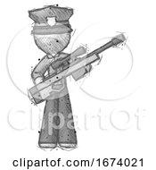 Sketch Police Man Holding Sniper Rifle Gun
