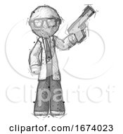 Sketch Doctor Scientist Man Holding Handgun