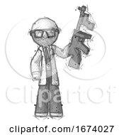Sketch Doctor Scientist Man Holding Tommygun