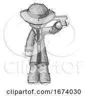 Sketch Detective Man Suicide Gun Pose