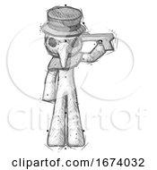 Sketch Plague Doctor Man Suicide Gun Pose
