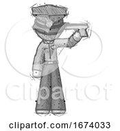 Sketch Police Man Suicide Gun Pose