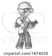 Sketch Doctor Scientist Man Tommy Gun Gangster Shooting Pose
