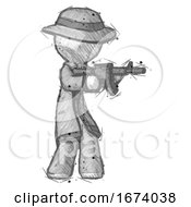 Sketch Detective Man Shooting Automatic Assault Weapon