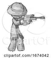 Sketch Detective Man Shooting Sniper Rifle