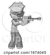 Sketch Police Man Shooting Sniper Rifle