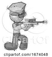 Sketch Police Man Kneeling Shooting Sniper Rifle