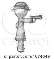 Sketch Detective Man Firing A Handgun