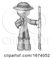 Sketch Detective Man Holding Staff Or Bo Staff