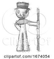 Sketch Plague Doctor Man Holding Staff Or Bo Staff