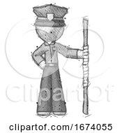 Sketch Police Man Holding Staff Or Bo Staff