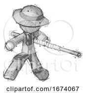Sketch Detective Man Bo Staff Action Hero Kung Fu Pose