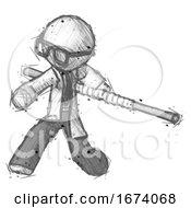 Sketch Doctor Scientist Man Bo Staff Action Hero Kung Fu Pose