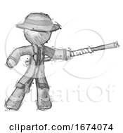Sketch Detective Man Bo Staff Pointing Right Kung Fu Pose