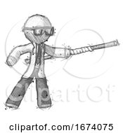 Sketch Doctor Scientist Man Bo Staff Pointing Right Kung Fu Pose