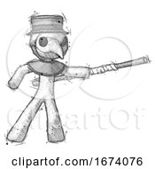 Sketch Plague Doctor Man Bo Staff Pointing Right Kung Fu Pose