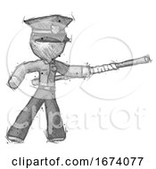Sketch Police Man Bo Staff Pointing Right Kung Fu Pose