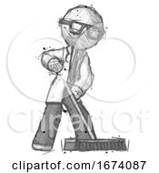 Sketch Doctor Scientist Man Cleaning Services Janitor Sweeping Floor With Push Broom