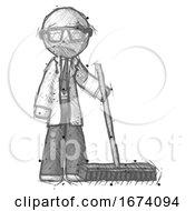 Sketch Doctor Scientist Man Standing With Industrial Broom