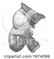 Sketch Police Man Sitting With Head Down Facing Sideways Right
