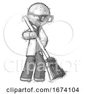 Sketch Doctor Scientist Man Sweeping Area With Broom
