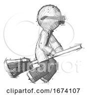 Sketch Doctor Scientist Man Flying On Broom