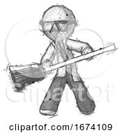 Sketch Doctor Scientist Man Broom Fighter Defense Pose