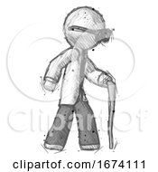 Sketch Doctor Scientist Man Walking With Hiking Stick