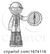 Sketch Doctor Scientist Man Holding A Large Compass