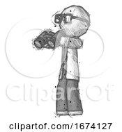 Sketch Doctor Scientist Man Holding Binoculars Ready To Look Left