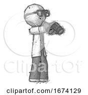 Sketch Doctor Scientist Man Holding Binoculars Ready To Look Right