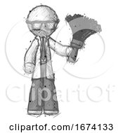 Sketch Doctor Scientist Man Holding Feather Duster Facing Forward