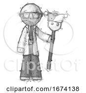 Poster, Art Print Of Sketch Doctor Scientist Man Holding Jester Staff