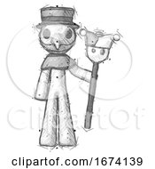 Poster, Art Print Of Sketch Plague Doctor Man Holding Jester Staff