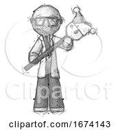 Sketch Doctor Scientist Man Holding Jester Diagonally
