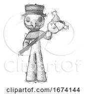 Poster, Art Print Of Sketch Plague Doctor Man Holding Jester Diagonally
