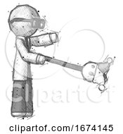 Poster, Art Print Of Sketch Doctor Scientist Man Holding Jesterstaff - I Dub Thee Foolish Concept