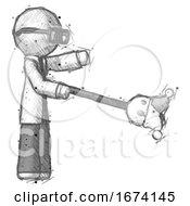 Sketch Doctor Scientist Man Holding Jesterstaff I Dub Thee Foolish Concept