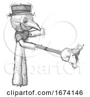 Poster, Art Print Of Sketch Plague Doctor Man Holding Jesterstaff - I Dub Thee Foolish Concept