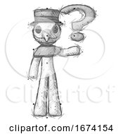 Sketch Plague Doctor Man Holding Question Mark To Right