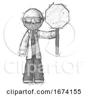 Sketch Doctor Scientist Man Holding Stop Sign