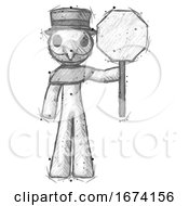 Poster, Art Print Of Sketch Plague Doctor Man Holding Stop Sign